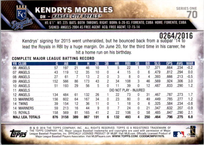 2016 Topps Gold #70 Kendrys Morales back image
