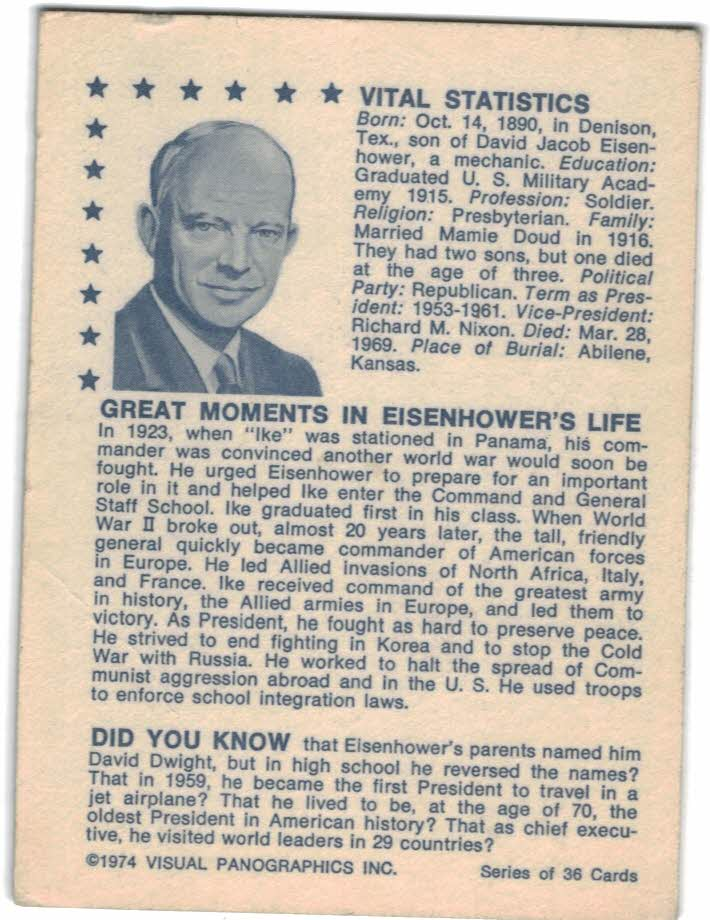 1974 American Presidents #33 Dwight D. Eisenhower back image