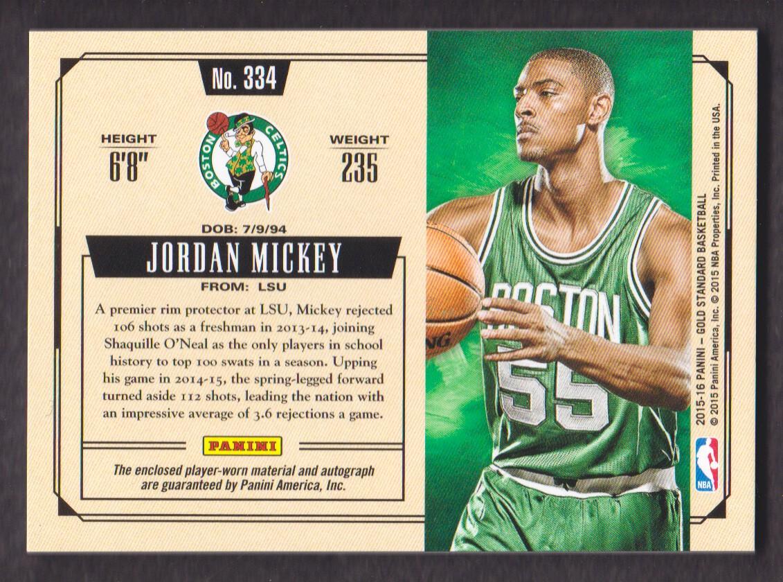 2015-16 Panini Gold Standard Rookie Jersey Autographs Prime #334 Jordan Mickey back image