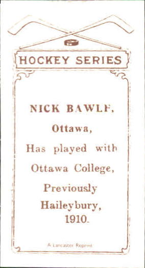 1910-11 C56 #18 Nick Bawlf RC back image