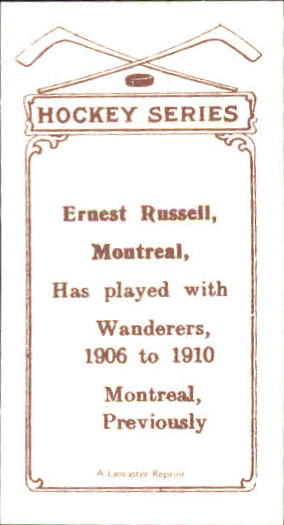 1910-11 C56 #20 Ernest Russell RC back image