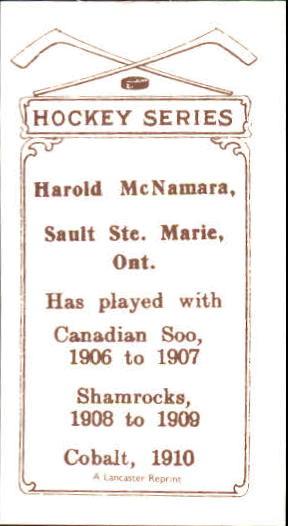 1910-11 C56 #32 Harold McNamara RC back image