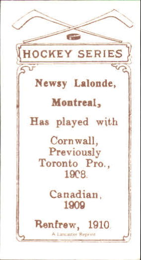 1910-11 C56 #36 Newsy Lalonde RC back image