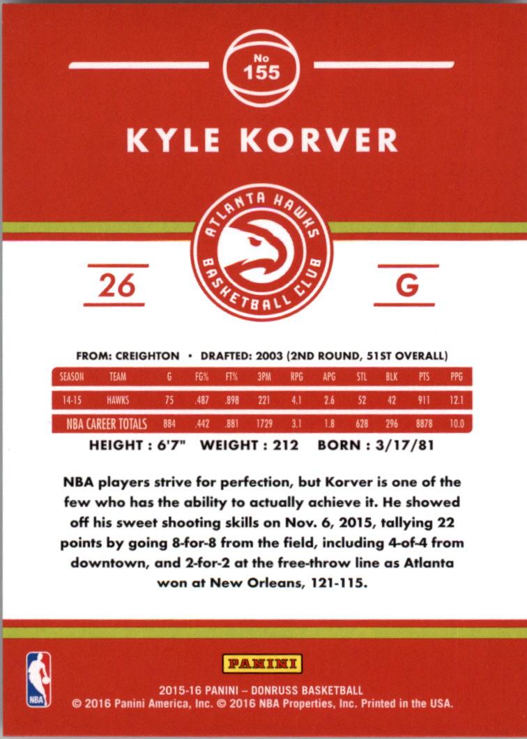 2015-16 Donruss Points #155 Kyle Korver/121 back image
