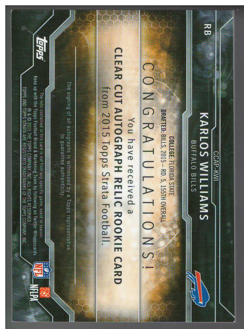2015 Topps Strata Clear Cut Rookie Relic Autographs Blue #CCAPKWI Karlos Williams back image