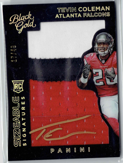 2015 Panini Black Gold Sizeable Rookie Signature Jerseys Prime #SSRTC Tevin Coleman/49