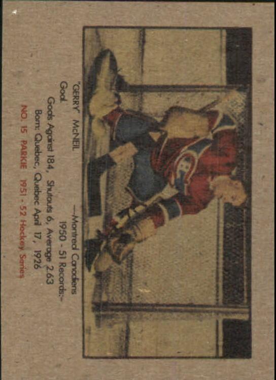 1951-52 Parkhurst #15 Gerry McNeil RC