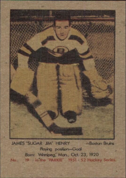 1951-52 Parkhurst #19 Jim Henry RC