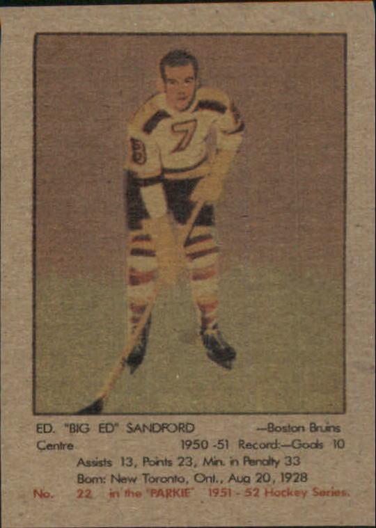 1951-52 Parkhurst #22 Ed Sandford RC