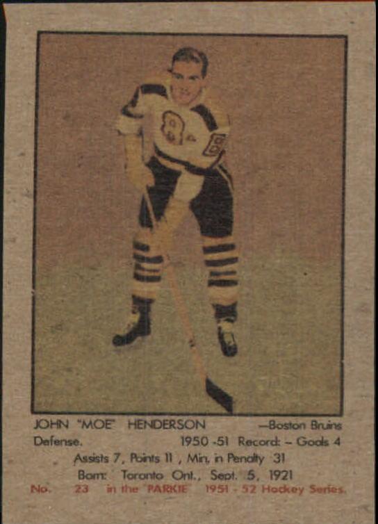1951-52 Parkhurst #23 John Henderson RC