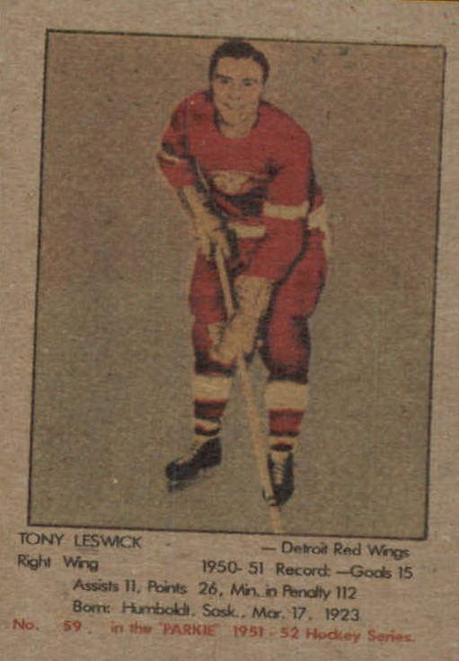 1951-52 Parkhurst #59 Tony Leswick RC