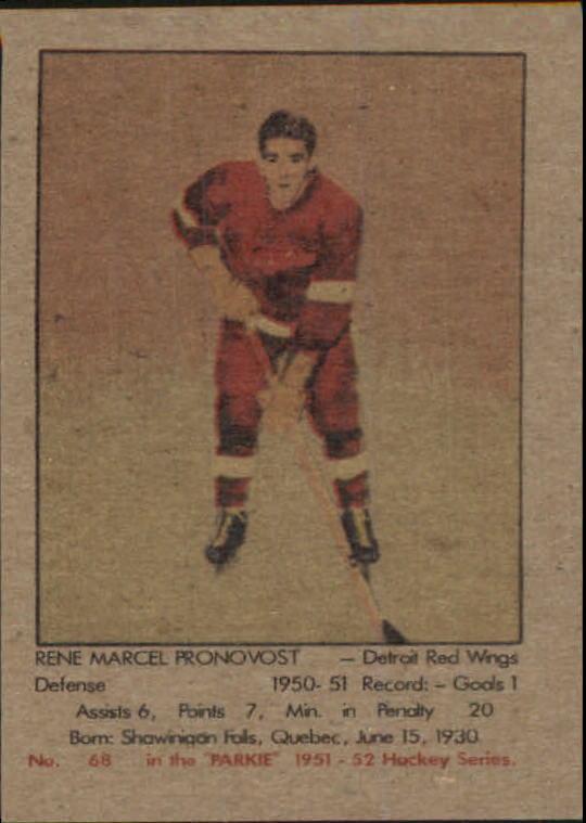 1951-52 Parkhurst #68 Marcel Pronovost RC