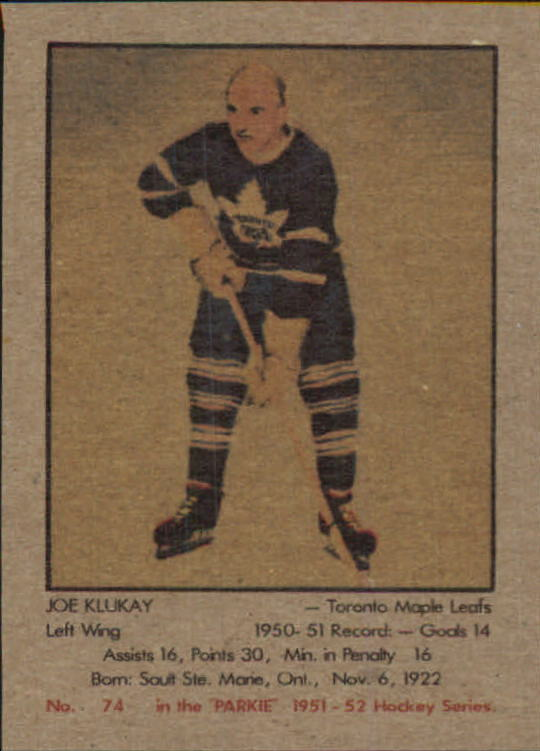 1951-52 Parkhurst #74 Joe Klukay RC
