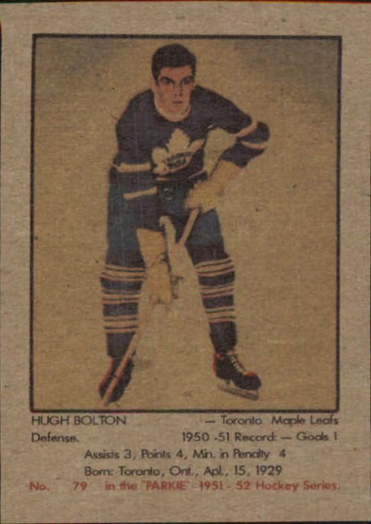 1951-52 Parkhurst #79 Hugh Bolton RC
