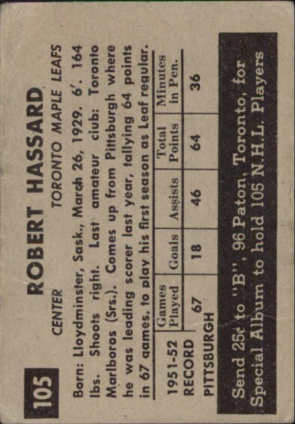 1952-53 Parkhurst #105 Bob Hassard RC back image