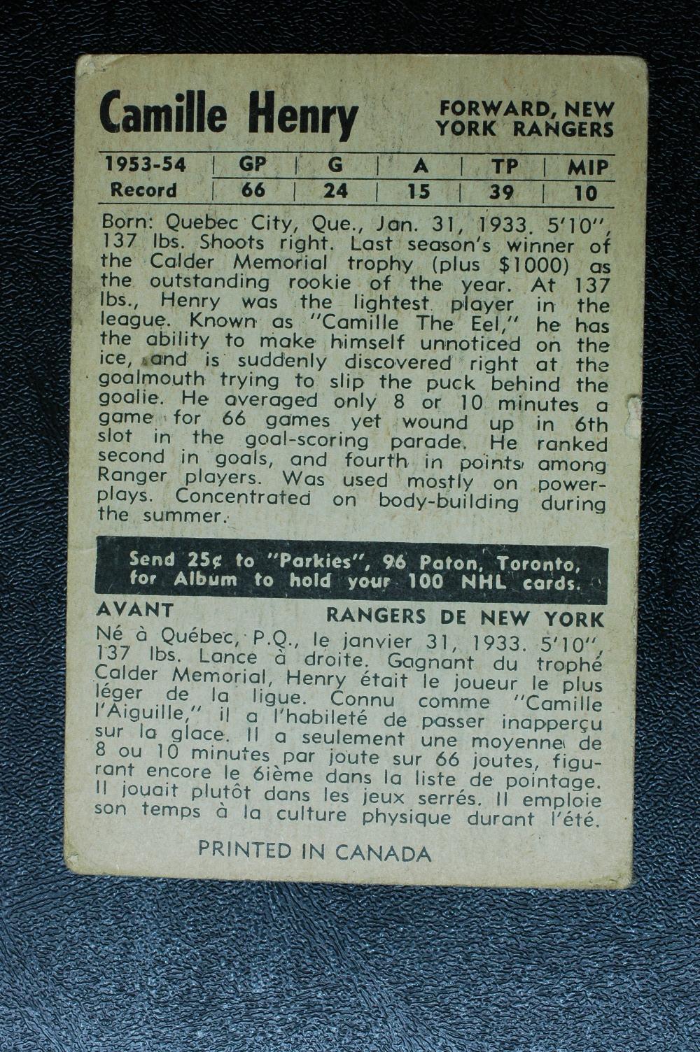 1954-55 Parkhurst #73 Camille Henry RC back image