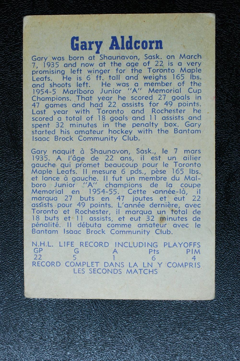 1957-58 Parkhurst #T24 Gary Aldcorn RC back image