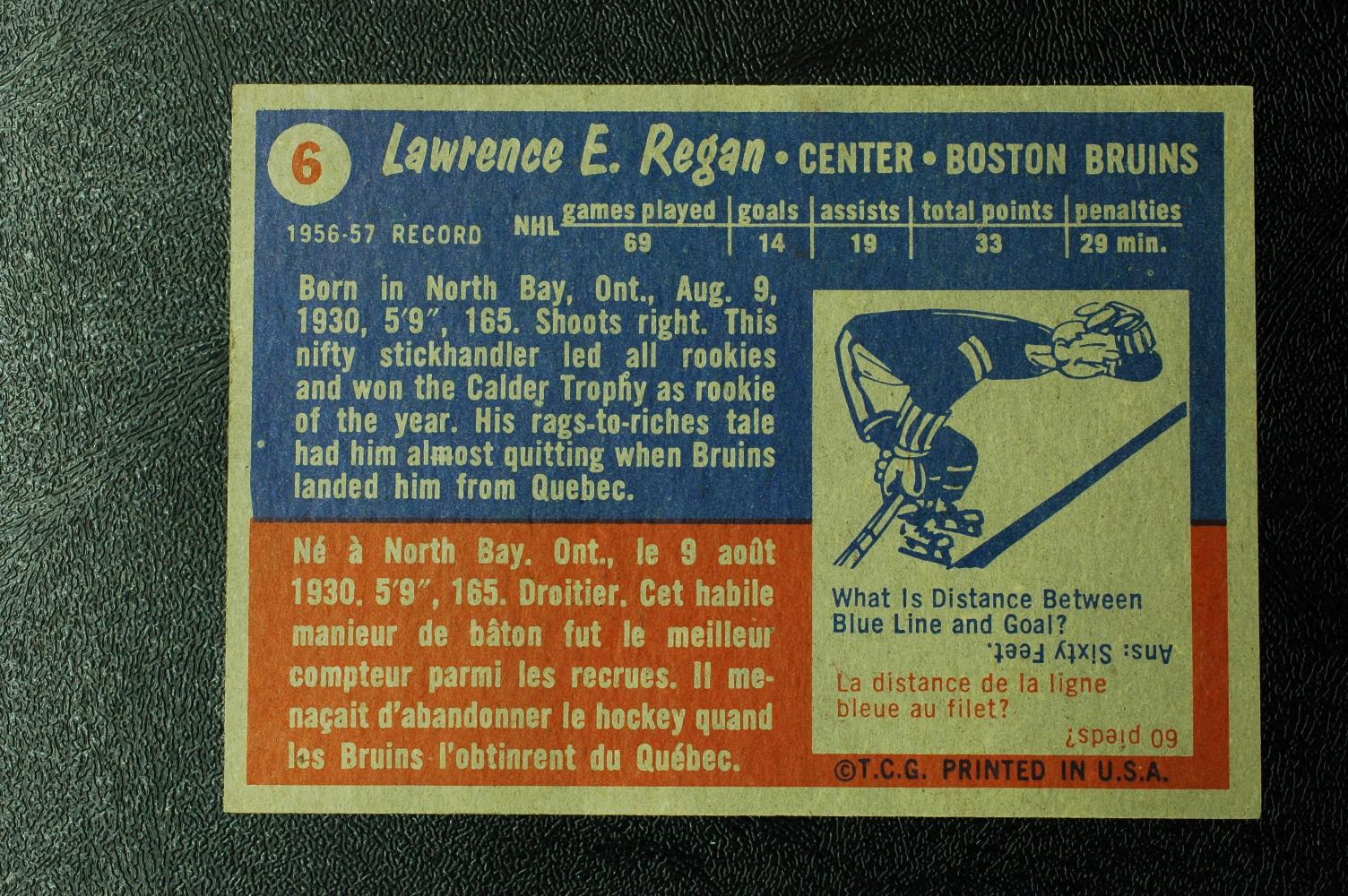 1957-58 Topps #6 Larry Regan RC back image