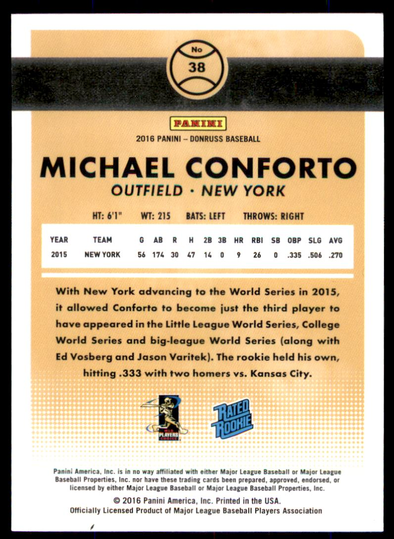 2016 Donruss Stat Line Career #38 Michael Conforto RR/400 back image