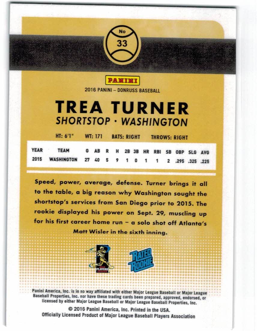 2016 Donruss Stat Line Season #33 Trea Turner RR/400 back image