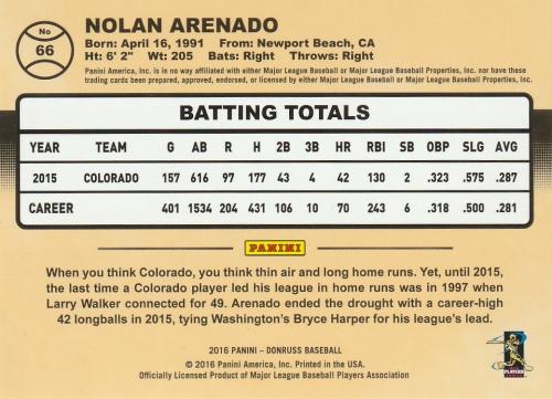 2016 Donruss Stat Line Season #66 Nolan Arenado/42 back image