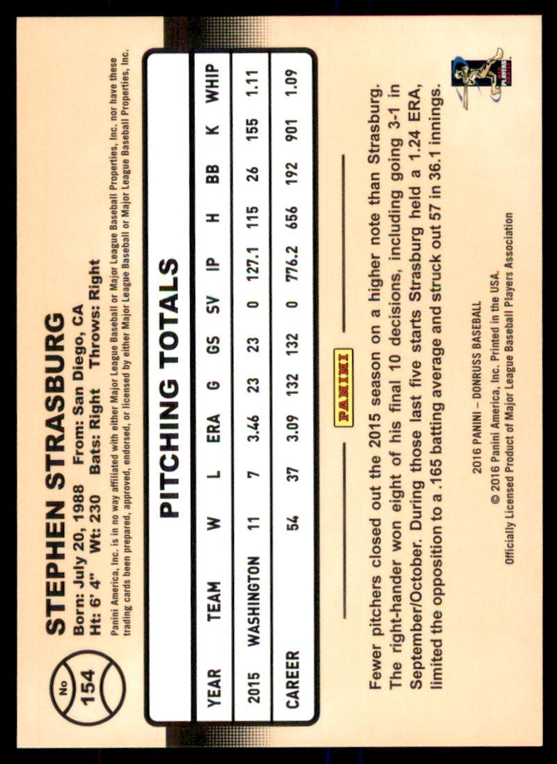 2016 Donruss Stat Line Season #154 Stephen Strasburg/111 back image