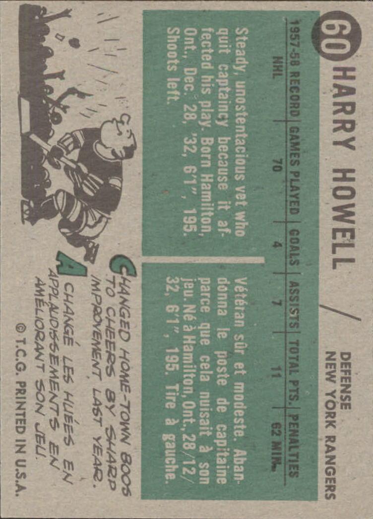 1958-59 Topps #60 Harry Howell back image