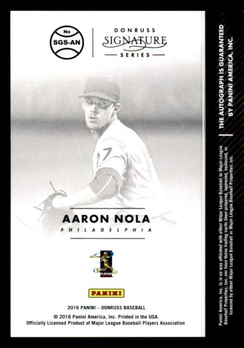 2016 Donruss Signature Series #SGSAN Aaron Nola back image