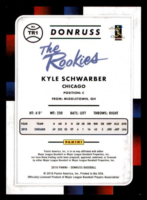 2016 Donruss The Rookies Career Stat Line #TR1 Kyle Schwarber/400 back image