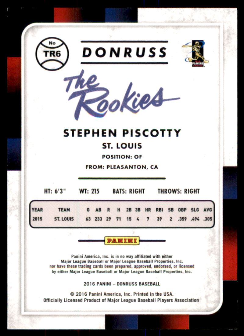 2016 Donruss The Rookies Career Stat Line #TR6 Stephen Piscotty/400 back image