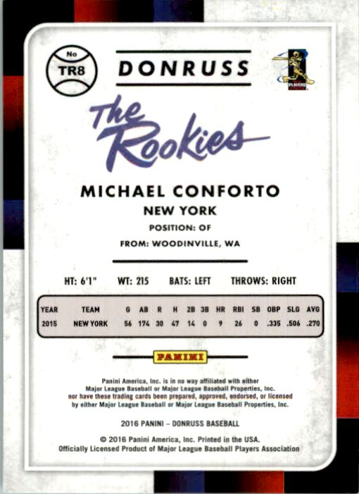 2016 Donruss The Rookies Career Stat Line #TR8 Michael Conforto/400 back image