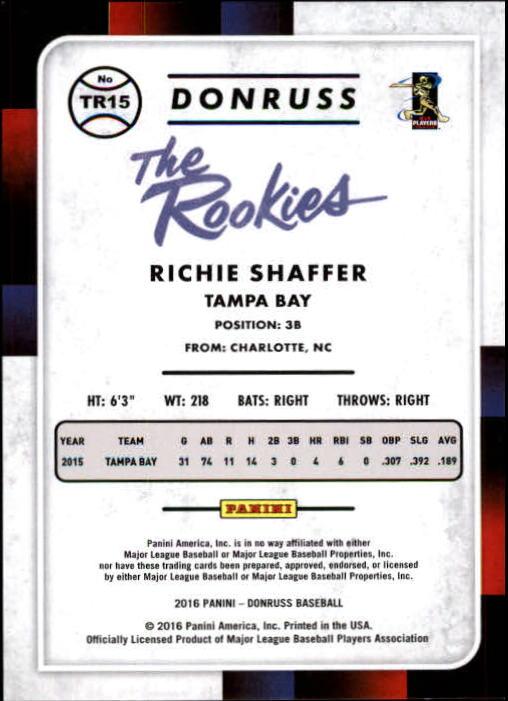 2016 Donruss The Rookies Career Stat Line #TR15 Richie Shaffer/400 back image