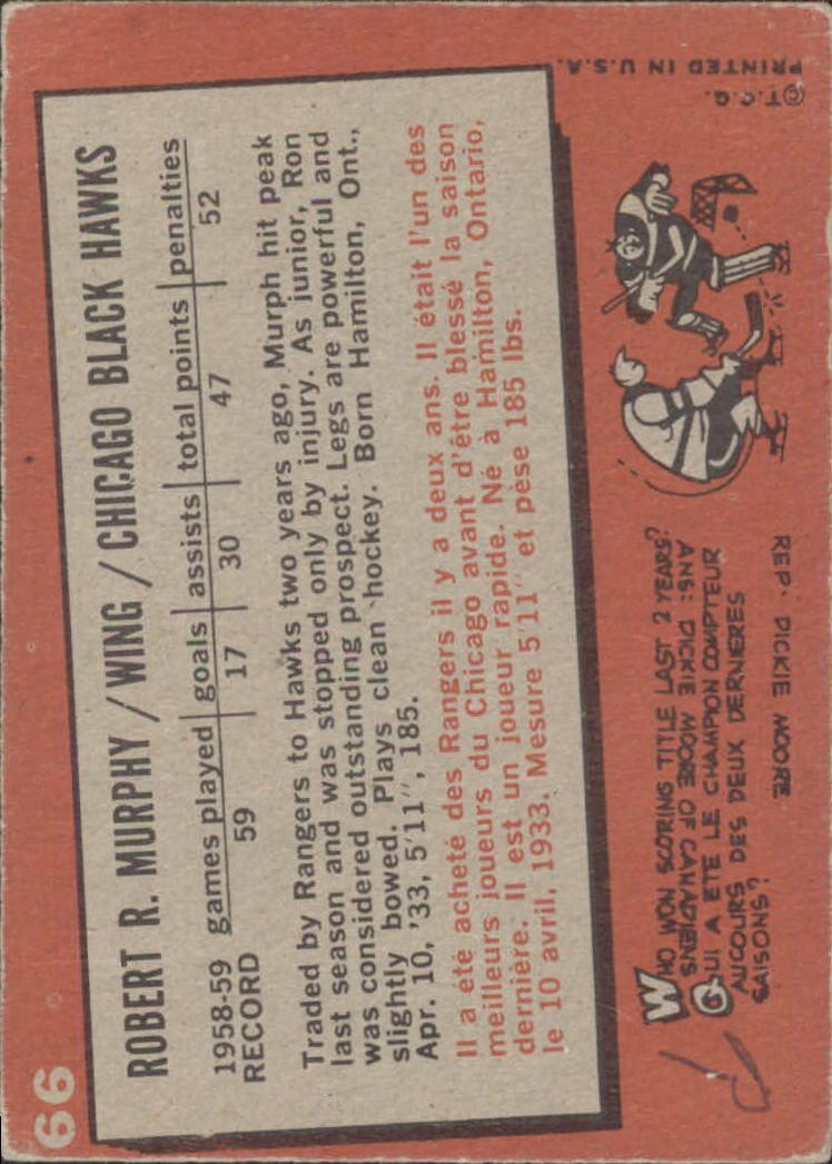 1959-60 Topps #66 Ron Murphy back image