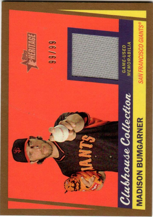 2016 Topps Heritage Clubhouse Collection Relics Gold #CCRMBU Madison Bumgarner