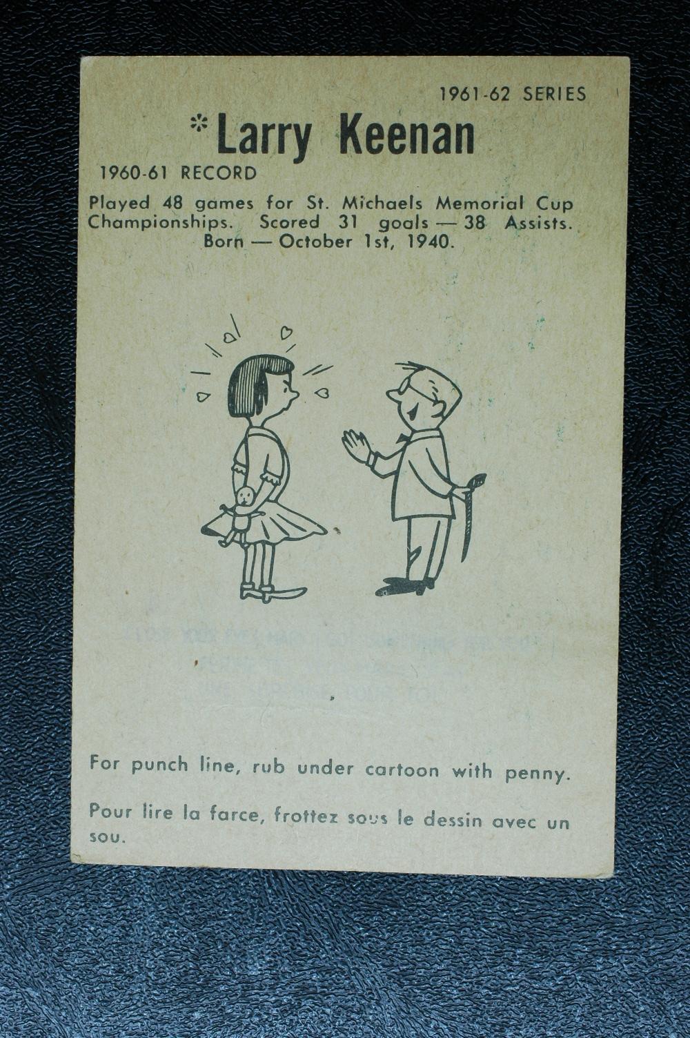 1961-62 Parkhurst #13 Larry Keenan RC back image