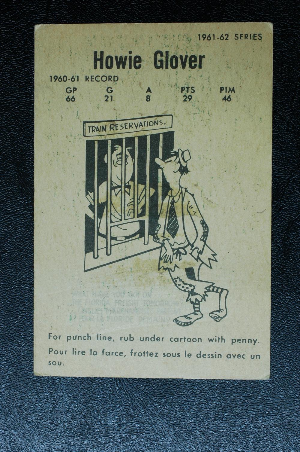 1961-62 Parkhurst #19 Howie Glover RC back image