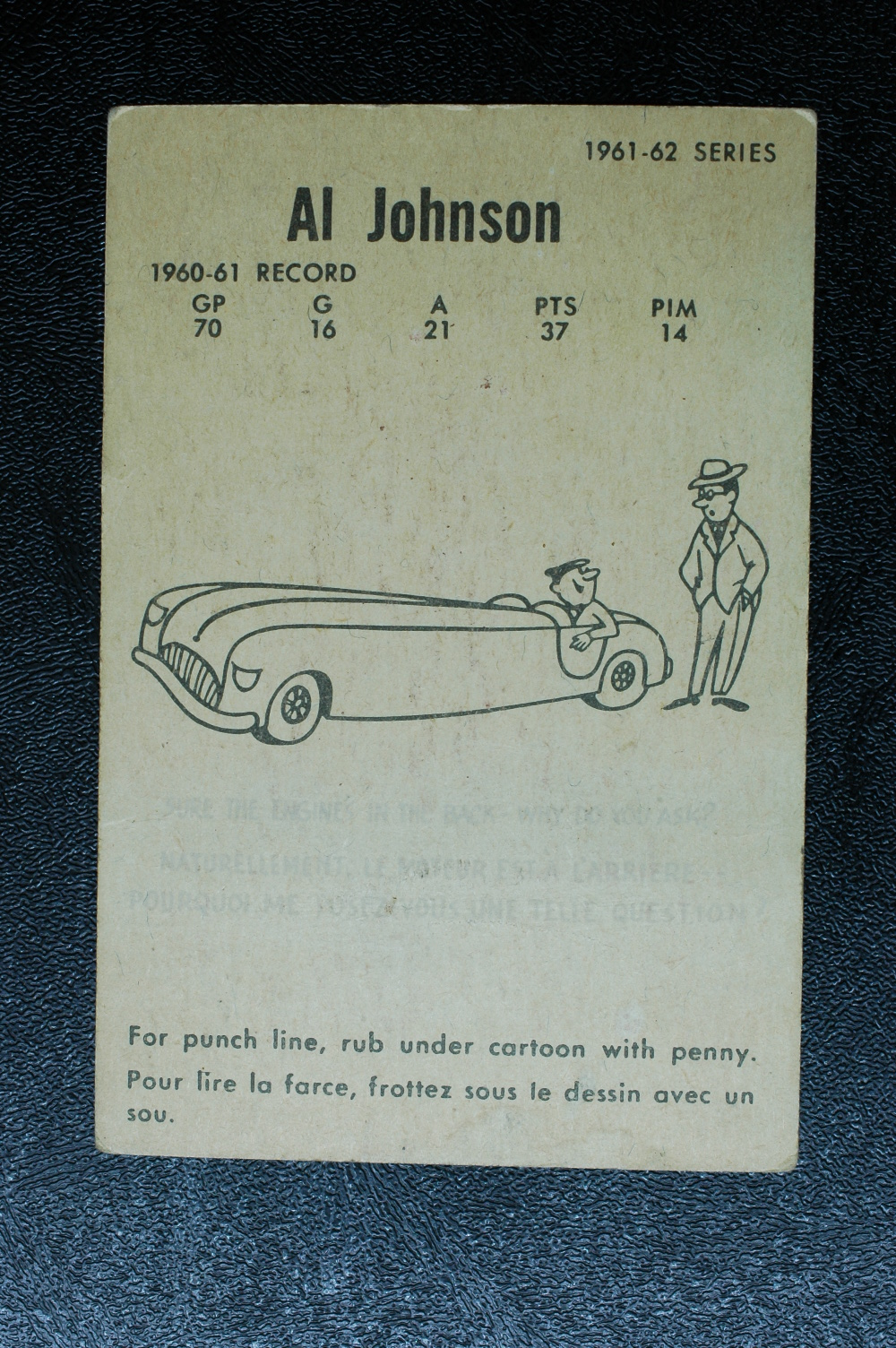 1961-62 Parkhurst #22 Al Johnson RC back image