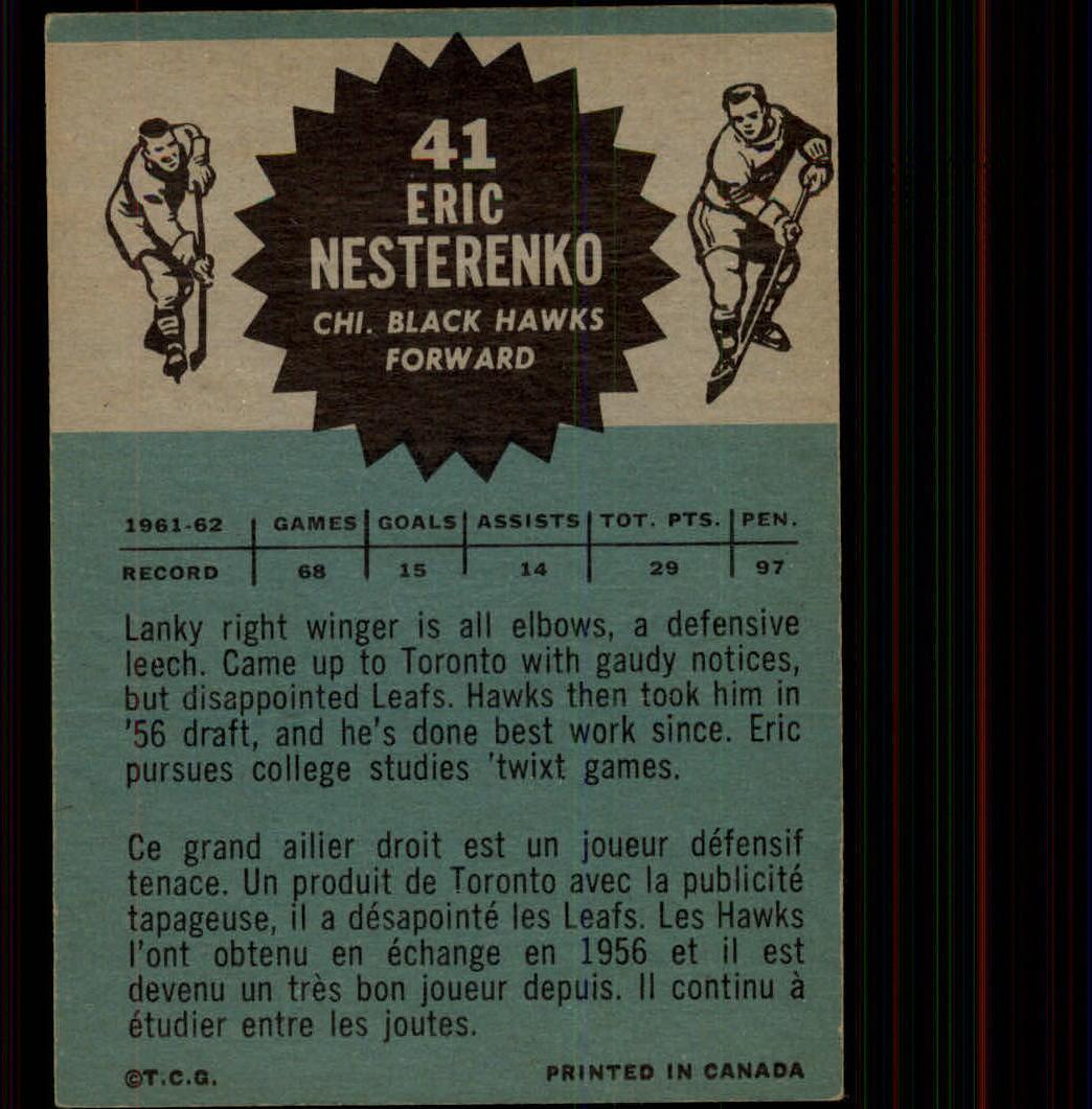 1962-63 Topps #41 Eric Nesterenko back image