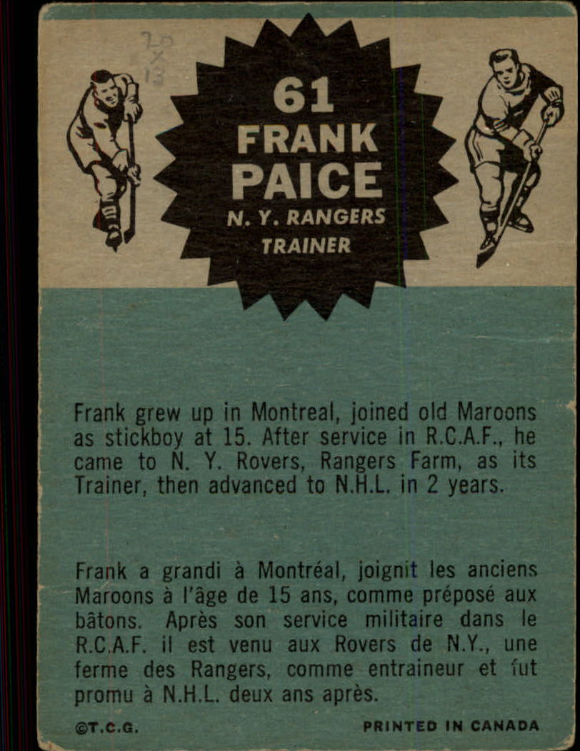 1962-63 Topps #61 Frank Paice TR RC back image