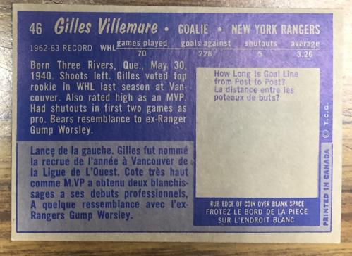1963-64 Topps #46 Gilles Villemure RC back image