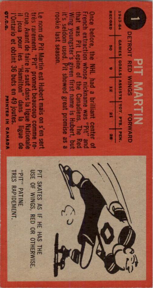 1964-65 Topps #1 Pit Martin RC back image