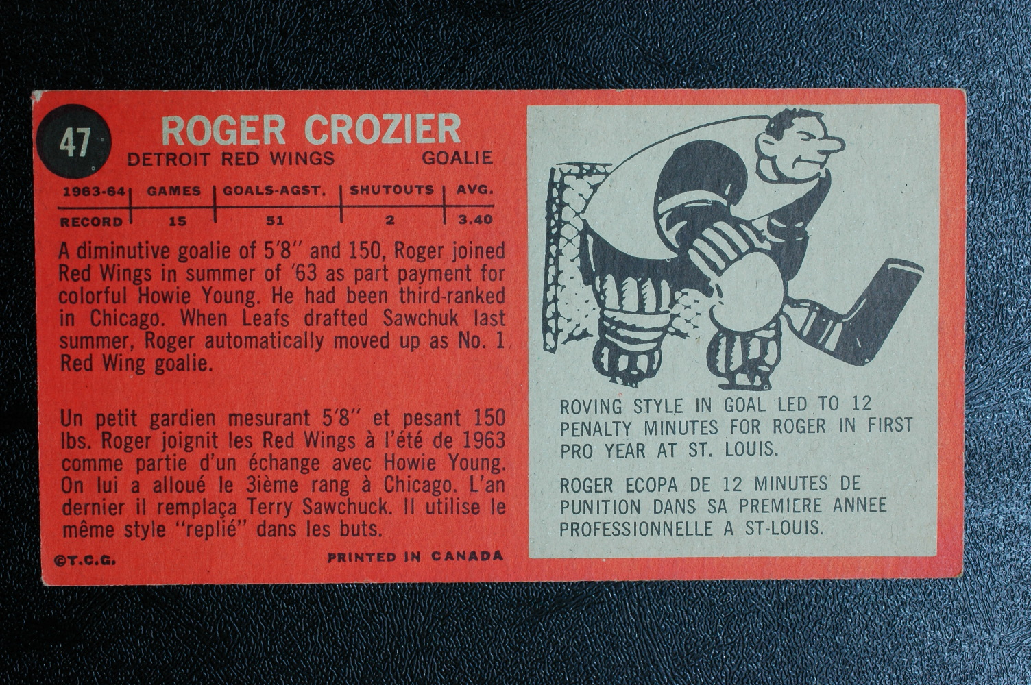 1964-65 Topps #47 Roger Crozier RC back image