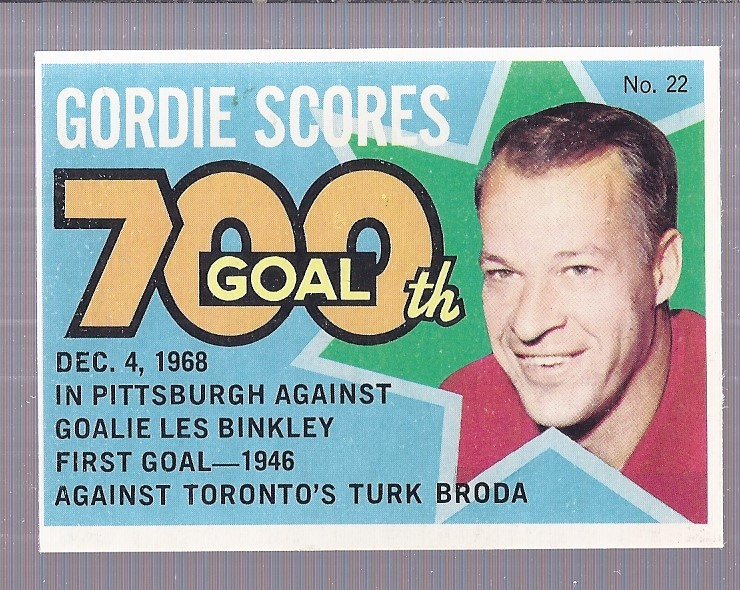 1968-69 O-Pee-Chee Puck Stickers #22 Gordie Howe Special/(700th Goal)