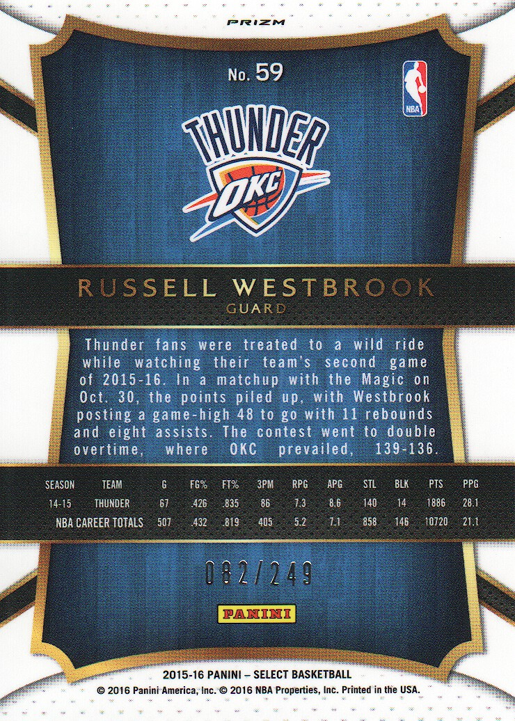 2015-16 Select Concourse Prizms Blue #59 Russell Westbrook back image