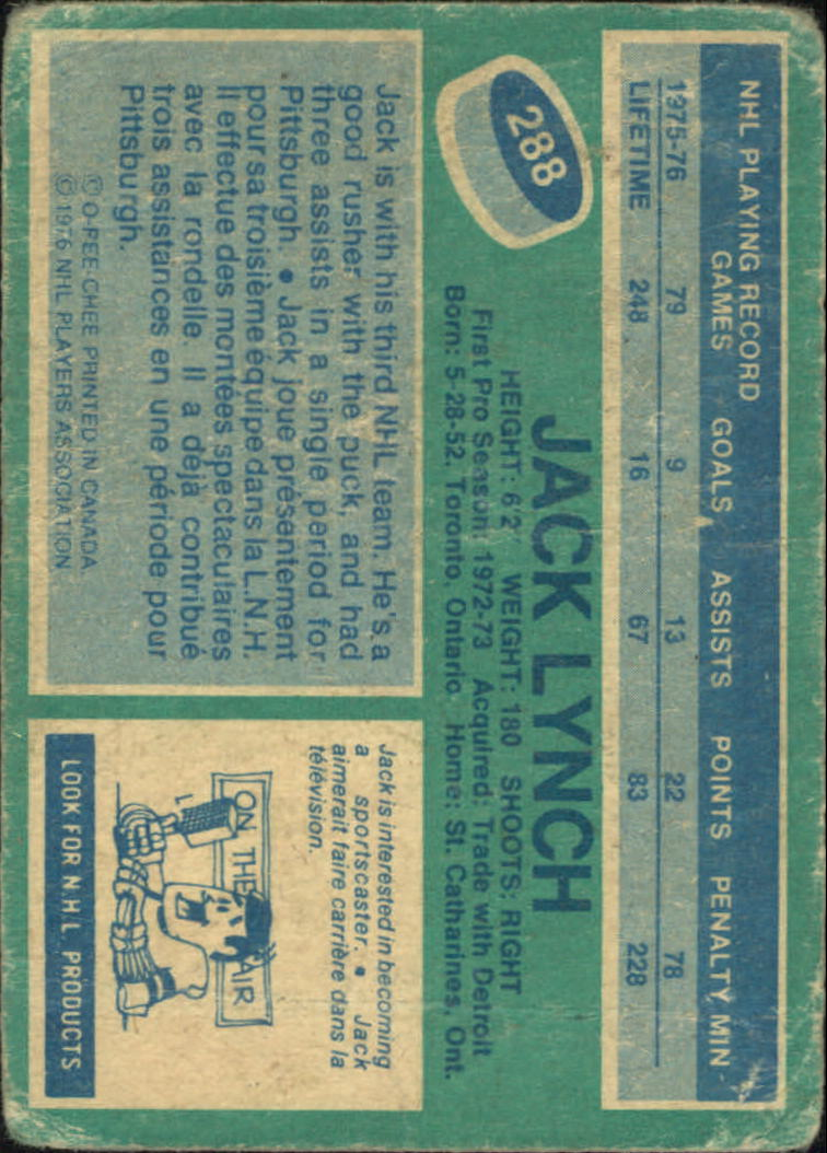 1976-77 O-Pee-Chee #288 Jack Lynch back image