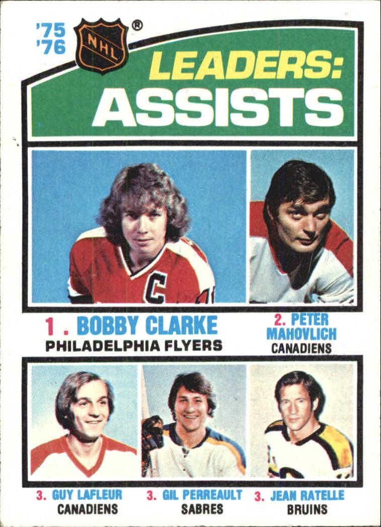 1976-77 Topps #2 Assists Leaders/Bobby Clarke/Peter Mahovlich/Guy Lafleur/Gilbert Perrault/Jean Ratelle