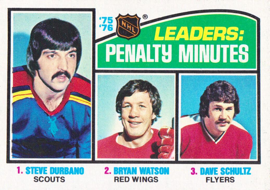 1976-77 Topps #4 Penalty Min. Leaders/Steve Durbano/Bryan Watson/Dave Schultz
