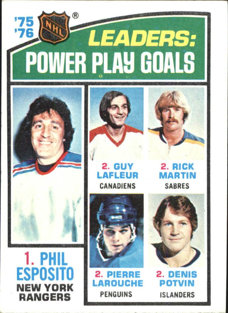 1976-77 Topps #5 Power Play Goals/Leaders/Phil Esposito/Guy Lafleur/Richard Martin/Pierre Larouche/Denis Potvin
