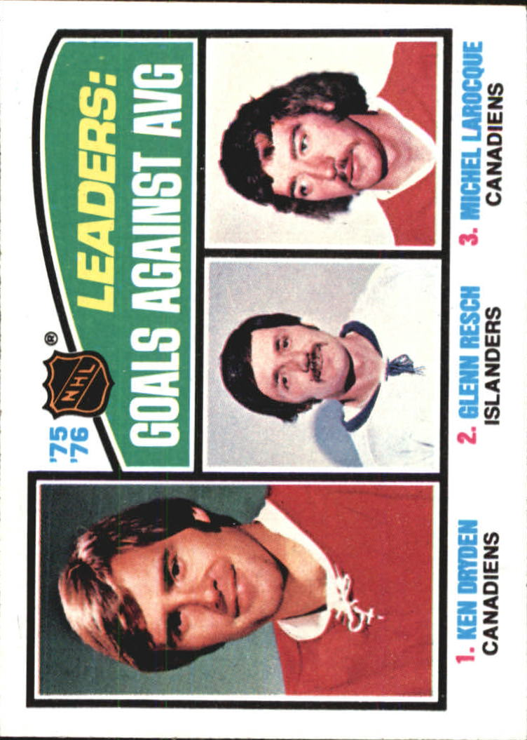 1976-77 Topps #6 Goals Against/Average Leaders/Ken Dryden/Glenn Resch/Michel Larocque