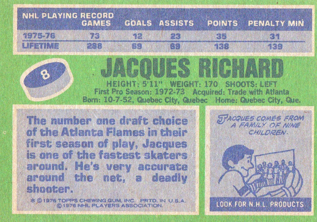1976-77 Topps #8 Jacques Richard back image